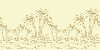 Seamless pattern, island with palm contours Royalty Free Stock Image