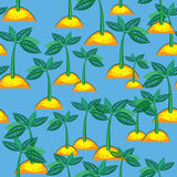 Seamless pattern island with a palm tree Stock Photo