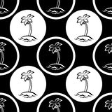Seamless pattern, islands with palm silhouettes Royalty Free Stock Photos