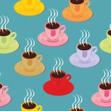 Seamless pattern isolated espresso cups Royalty Free Stock Photography