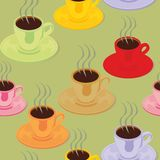 Seamless pattern isolated espresso cups Royalty Free Stock Image