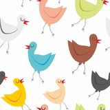 Seamless pattern isolated funny birds Royalty Free Stock Photography