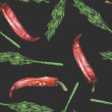 A seamless pattern with the isolated green dill and red chili peppers. Painted hand drawn in a watercolor on a dark background Royalty Free Stock Photo