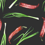A seamless pattern with the isolated green onion and red chili peppers Stock Photo