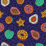 Seamless pattern of isolated hand drawn colorful tropical fruit Stock Photos