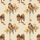 Seamless pattern of isolated hand-drawn elements: Bird, jewelry antique key. Design in vintage style