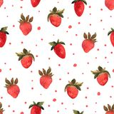 Seamless pattern with isolated hand drawn red strawberry.  Illus. Trarion with berries and strawberry slices in watercolor Royalty Free Stock Photos