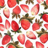 Seamless pattern with isolated hand drawn red strawberry.  Illus. Trarion with berries and strawberry slices in watercolor Stock Photography