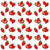 Seamless pattern with isolated hand drawn red strawberry. Raster Illustrarion with berries and strawberry slices. Seamless pattern with isolated hand drawn red Stock Illustration