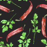 A seamless pattern with the isolated parsley and red chili peppers. Painted hand drawn in a watercolor on a dark background Stock Images