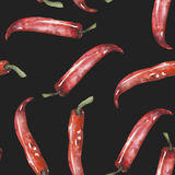 A seamless pattern with the isolated red chili peppers. Painted hand drawn in a watercolor on a dark background Royalty Free Stock Photography
