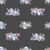 Seamless pattern with isolated watercolor floral bouquets from tender flowers and leaves in pink, mint and purple pastel shades. Hand drawn on a dark Stock Images