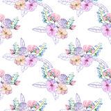 Seamless pattern with isolated watercolor floral bouquets from tender flowers and leaves in pink and purple pastel shades. Hand drawn on a white background Stock Photography