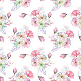 Seamless pattern with isolated watercolor floral bouquets from tender flowers and leaves in pink and purple pastel shades. Hand drawn on a white background Royalty Free Stock Photo