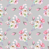 Seamless pattern with isolated watercolor floral bouquets from tender flowers and leaves in pink and purple pastel shades. Hand drawn on a gray background Royalty Free Stock Image