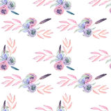 Seamless pattern with isolated watercolor floral bouquets from tender flowers and leaves Stock Images