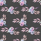 Seamless pattern with isolated watercolor floral bouquets from tender flowers and leaves in pink and purple pastel shades. Hand drawn on a dark background Stock Image