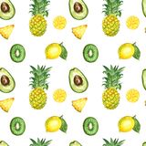 Seamless pattern with isolated watercolor summer exotic fruits - ripe pineapple, avocado, kiwi fruit, lemon, fruits slices vector illustration