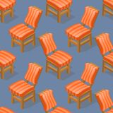 Seamless pattern of isometric cartoon chair. Front and back. Seamless pattern of isometric cartoon chair isolated on blue. Chairs with striped upholstery. Front Stock Photography