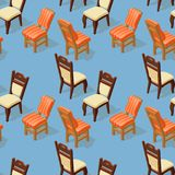 Seamless pattern of isometric cartoon chair. Front and back. Seamless pattern of isometric cartoon chair  on blue. Chairs with white and orange striped Stock Photography
