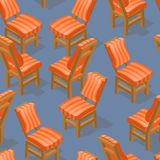 Seamless pattern of isometric cartoon chair. Front and back. Seamless pattern of isometric cartoon chair isolated on blue. Chairs with striped upholstery. Front Stock Images