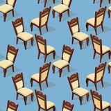 Seamless pattern of isometric cartoon chair. Front and back. Seamless pattern of isometric cartoon chair isolated on blue. Chairs with white upholstery. Front Royalty Free Stock Photography