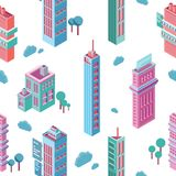 Seamless pattern with isometric city buildings and skyscrapers on white background. Backdrop with modern downtown or. Megalopolis houses. Colorful vector royalty free illustration