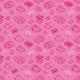 Seamless pattern with the isometric colored gift Stock Photos
