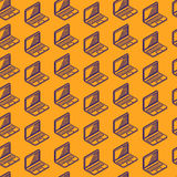 Seamless pattern with isometric laptop signs Royalty Free Stock Image