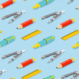 Seamless pattern with isometric pair of compasses, fountain pen, pencil, and ruler on blue background. vector illustration