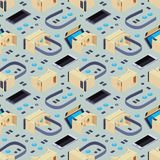 Seamless pattern with isometric parts Stock Images