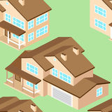 Seamless pattern with Isometric suburban american house.Vector d Stock Photos