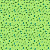 Seamless pattern with isometric trees. Seamless isometric trees pattern vector illustration. 3d low poly spurce Royalty Free Stock Photo