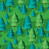 Seamless pattern with isometric trees. Seamless isometric trees pattern vector illustration. 3d low poly spurce Stock Image