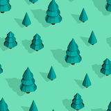 Seamless pattern with isometric trees. Seamless isometric trees pattern vector illustration. 3d low poly spurce Stock Photo