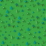 Seamless pattern with isometric trees. Seamless isometric trees pattern vector illustration. 3d low poly spurce Stock Images