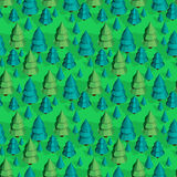 Seamless pattern with isometric trees. Seamless isometric trees pattern vector illustration. 3d low poly spurce Royalty Free Stock Photos