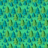 Seamless pattern with isometric trees. Seamless isometric trees pattern vector illustration. 3d low poly spurce Stock Photography