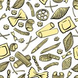 Seamless pattern with italian macaroni of different kinds. Colored hand draw on white background. Vector illustration royalty free illustration