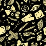 Seamless pattern with italian macaroni of different kinds. light yellow coloured hand draw on black background. Vector illustration vector illustration