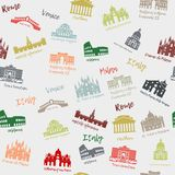Seamless pattern of Italy. Building, landmarks of sities. Silhouette travel icons Stock Image