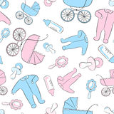Seamless pattern with items for newborn Stock Photography