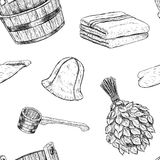Seamless pattern items for sauna. Hand drawn vector set for bath. Royalty Free Stock Images