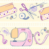 Seamless pattern of  items for sewing and crafts.  Stock Images