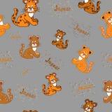 Seamless pattern with a jaguar cub handmade inscription Jaguar Royalty Free Stock Images