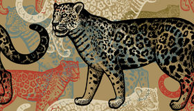 Seamless pattern with jaguars. Seamless vector pattern. Black and red jaguars on gold background. Hand drawing of animals. Vintage style engraving. Illustration Royalty Free Stock Photography