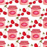 Seamless pattern with jam jar and cherry . Cute background in watercolor. Sweet berry packaging design or wrapping paper. Seamless pattern with jam jar and Stock Photos