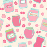 Seamless pattern with jam jars and berries Royalty Free Stock Photography