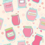 Seamless pattern with jam jars Royalty Free Stock Image