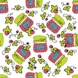 Seamless pattern with jam, marmalade. Vector illustration. Royalty Free Stock Photo